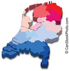 tartomány, térkép, németalföld