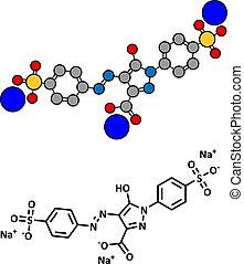 Tartrazine (E102) food dye molecule. Yellow azo dye used in food, beverages, pharmaceuticals, etc. Allergenic.
