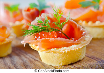 tarts with salmon