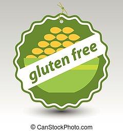 tarwe, gluten, prijs, kom, kosteloos, etiket, papier, vector, groene, oogje, label, touwtje