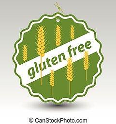 tarwe, gluten, stengels, prijs label, kosteloos, etiket, papier, vector, groene