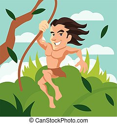 Tarzan swinging on a vine