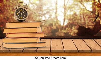tas, 4k, feuilles, livres, horloge, tomber, automne