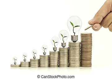 tas argent, à, arbre, et, ampoule, isolé, blanc, fond, concept, dans, epargner argent, et, finance, croissant