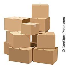 tas, boîtes carton