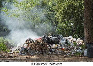 tas, brûlé, déchets