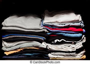 tas, de, divers, vêtements, depuis, lessive, dans, a, garde-robe