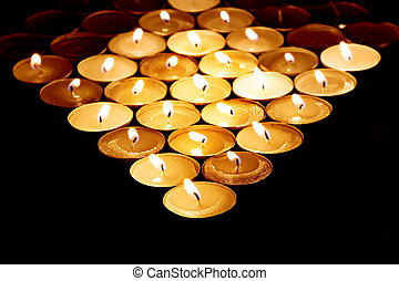 tas, de, spa, bougies, gros plan