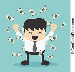 tas, dollar, argent, homme affaires