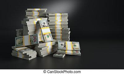 tas, dollars., batches, papier-monnaie