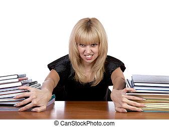 tas, expressional, papiers, girl, mouvements, séparément