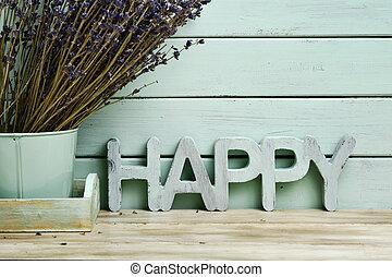 tas, fleurs, mot, lavande, heureux