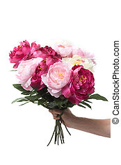 tas, fleurs, tenant main