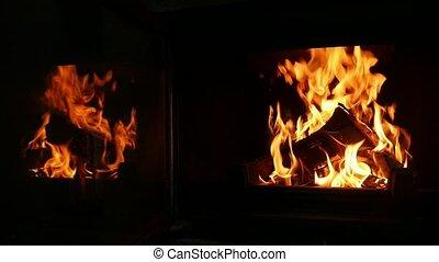 tas, inspirer, brûlé, deux, flamme, balks, fourchettes, cheminée