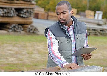 tas, journaux bord, inspection, homme