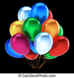 tas, joyeux anniversaire, décoration, fête, ballons colorés