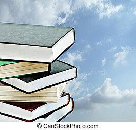 tas, livres, ciel, fond