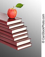 tas, livres, fond, pomme rouge