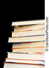 tas, livres, vieux, fond, noir