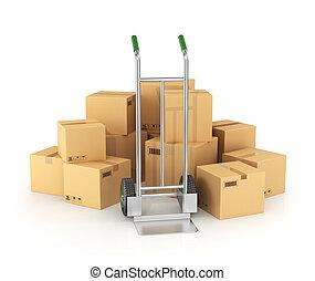 tas, main, arrière-plan., boîtes, camion, blanc, carton