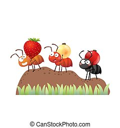 tas, marche, sol, nest., dessin animé, baies, fourmis, vecteur, porter, illustration, colonie