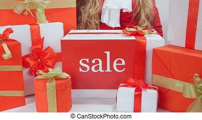 tas, mot, cadeau, prendre, vente, boîtes, girl, présent noël, dehors