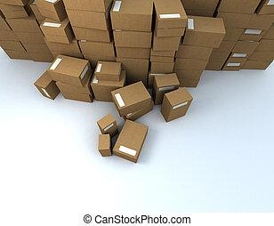 tas, paquets, vue aérienne