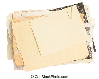 tas, photos, courrier, vieux