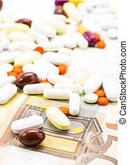 tas pilules, et, billets banque, closeup