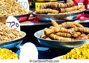 tas, sec, variété, delhi, vente, fruits, chowk, chandni