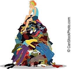tas, vêtements
