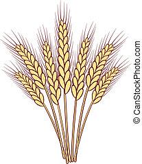 tas, vecteur, blé, oreilles