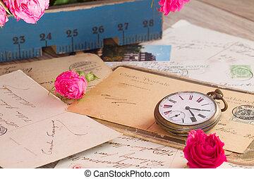 tas, vieux, antiquité, horloge, courrier