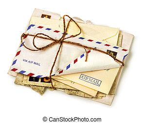 tas, vieux, poste aérienne, lettres