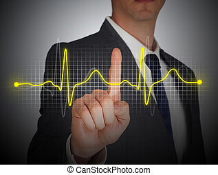 tasa corazón, pantalla, digital