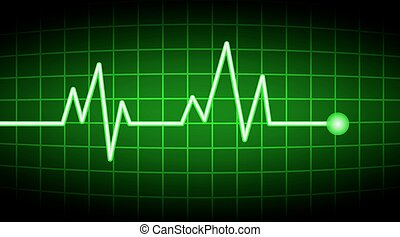 tasa corazón, verde, pantalla