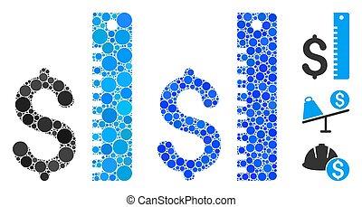 tasa, icono, dólar, círculo, puntos, mosaico