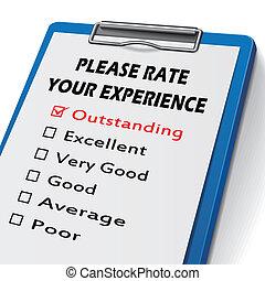 tasa, portapapeles, por favor, su, experiencia