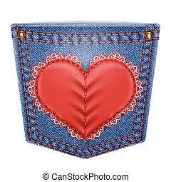 tasca, cuore, cucito, laccio, retro