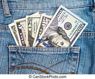 tasca, dollari, jean, americano