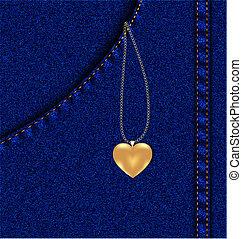 tasca, dorato, jeans, cuore