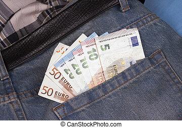 tasca, indietro, euros