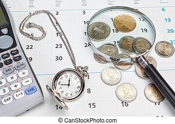 tasca, watch., calendario, affari