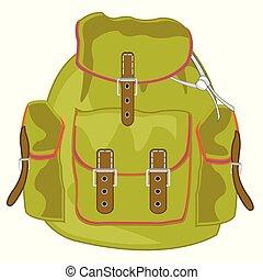 tasca, zaino, vettore, turista, illustrazione