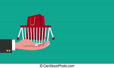 tasche, animation, shoppen, karikatur, hd