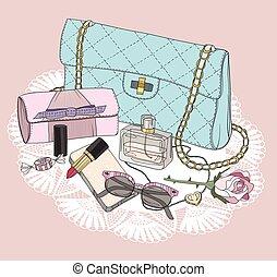 tasche, aufmachung, sonnenbrille, essentials., parfüm, hintergrund, schuhe, jewelery, flowers., mode