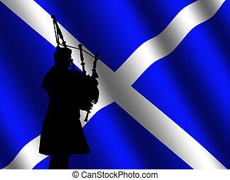 tasche, dudelsackspieler, mit, schottische fahne