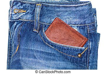 tasche, geldbörse, jeans