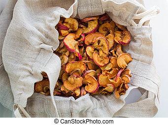 tasche, getrocknete , äpfel, leinen