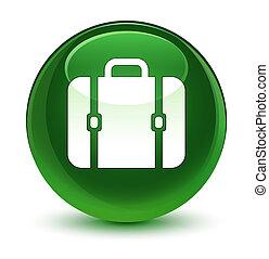 tasche, ikone, glasig, weich, grün, runder , taste